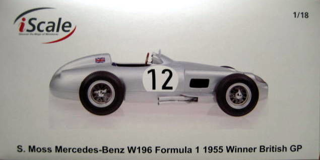 Stirling Moss Mercedes-Benz W196 #12 Winner British GP Formel 1 1955 1:18 iScale