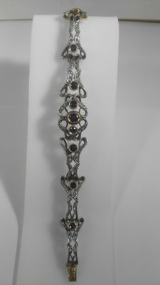 14 carats Or blanc, Or jaune - Bracelet - 1.60 ct Saphir - Diamants