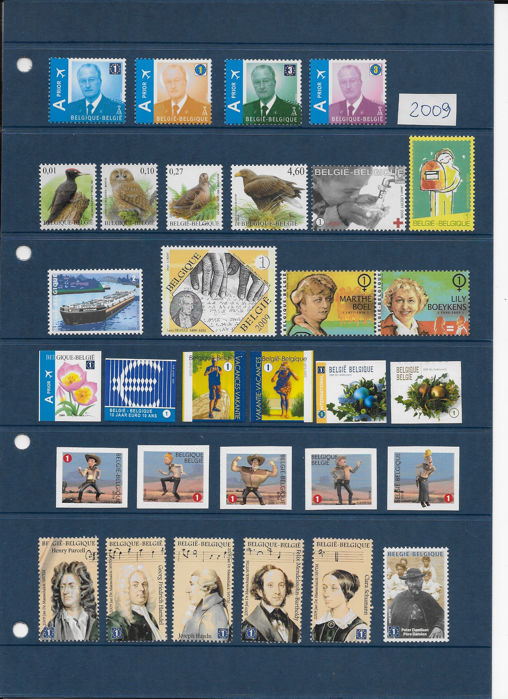 België 2009 - Complete year of stamps and blocks - OBP / COB 3867/3982