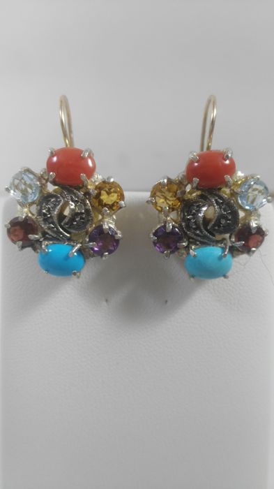 14 kt. Yellow gold - Earrings coral - Diamonds, Turquoises
