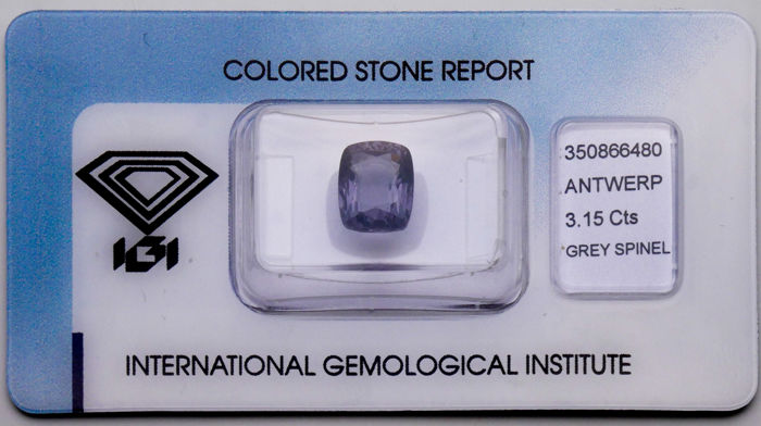 Gray Natural, Spinel - 3.15 ct