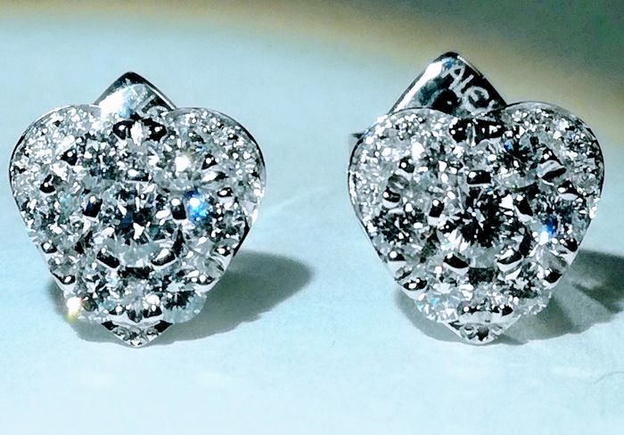 Alex Ball - 18 carats Or blanc - Boucles d'oreilles - 0.70 ct Diamant - Diamant