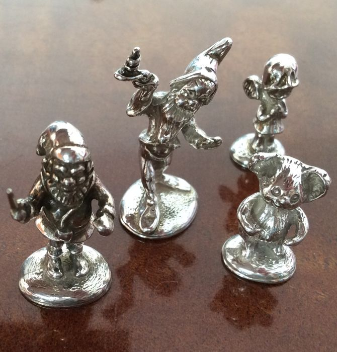 Silver miniatures of gnomes, little bear and little angel (4) - .925 silver Curio Curio for sale