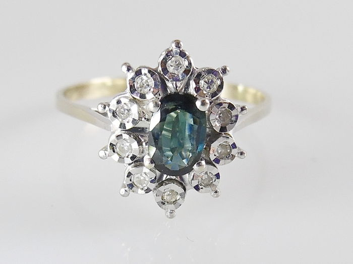 18 kt. White gold - Ring - 0.58 ct Sapphire - Diamond