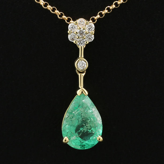 18 karaat Geel goud - Ketting - 1.40 ct Briljante emerald drop - Diamant