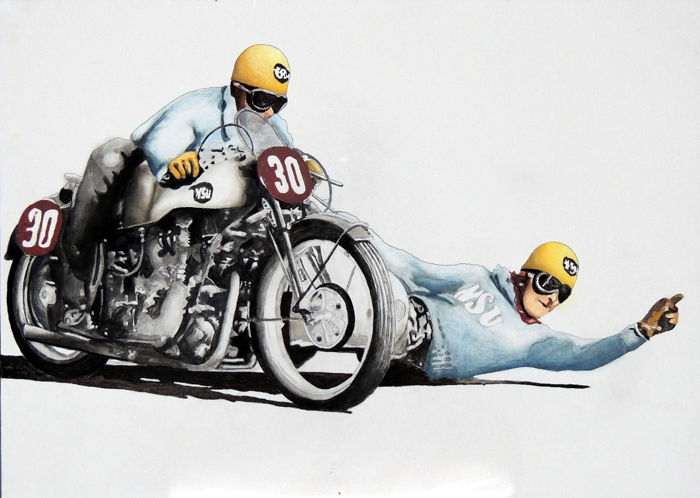 oil and acrylic painting - NSU Sidecar 1949-1951 - 2009-2009 (1 items)