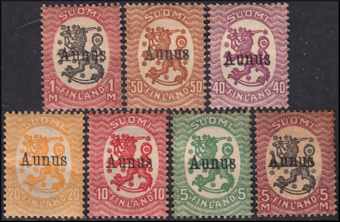 Finland 1919 - Prancing lion set from 1918 overprinted AUNUS - Unificato n. 1/7