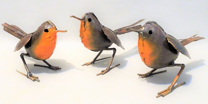 3 Unique Handmade Birds statues, Zimbabwe - Recycled metal