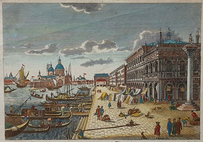 Italië, Veneto, Venezia; T Bowen - A View from the Column of St Theodore to the entrance of the great Canal in the City of Venice - ca 1790