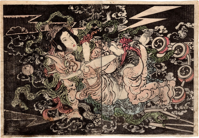 Illustratie, Origineel houtblok print, Shunga - Utagawa School - Important double page polychrome illustration: Raijin (雷神) and Benzaiten (弁財天) - ca. 1870