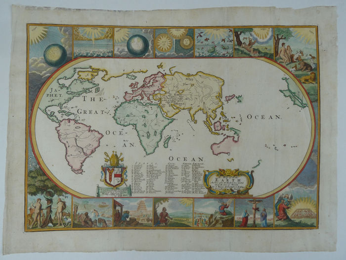 Welt, Welt; Joseph Moxon - A map of all the Earth and how after the flood  it was (..) - 1681-1700 - Catawiki