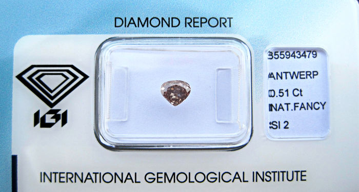 1 pcs Diamante - 0.51 ct - Pera - fancy pinkish brown - SI2