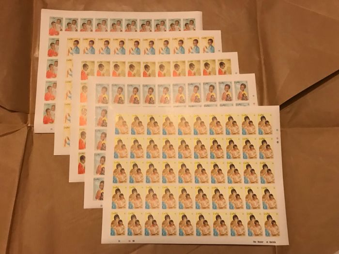 Congo and Zaire 1981/1985 - Collection of series in complete sheets - Imperforate - OBP / COB 1118-1122ND 1125-1132ND 1181-1188ND 1224-1230ND 1286-1289ND
