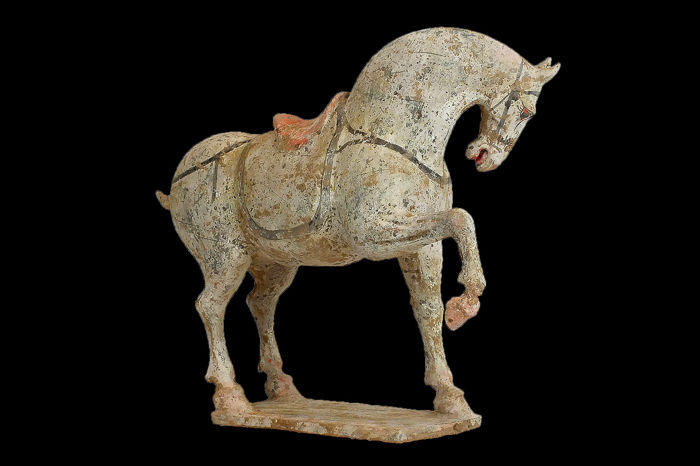 Mingqi - Terracotta - Painted Buff Pottery Figure of a Prancing Horse, TL test - China - Tang Dynasty (618-907)
