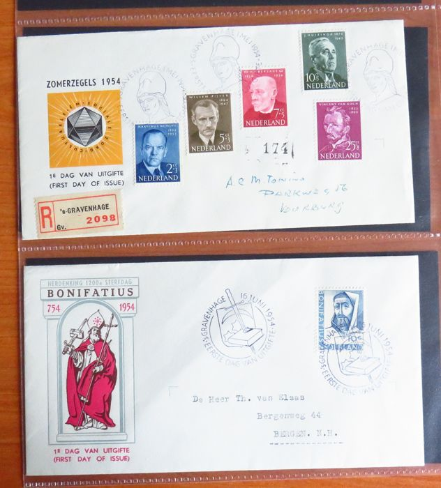 Pays-Bas 1954/1963 - Collection of FDCs - NVPH E16 t/m E57