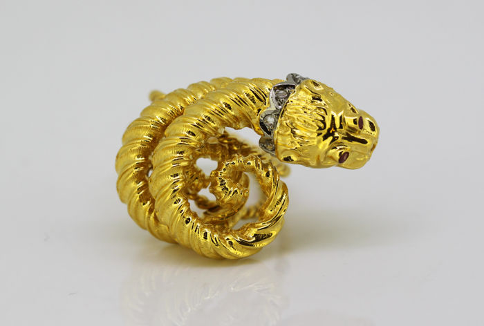 Zolotas - 18 kt. Gold - Ring - Diamonds, Rubys