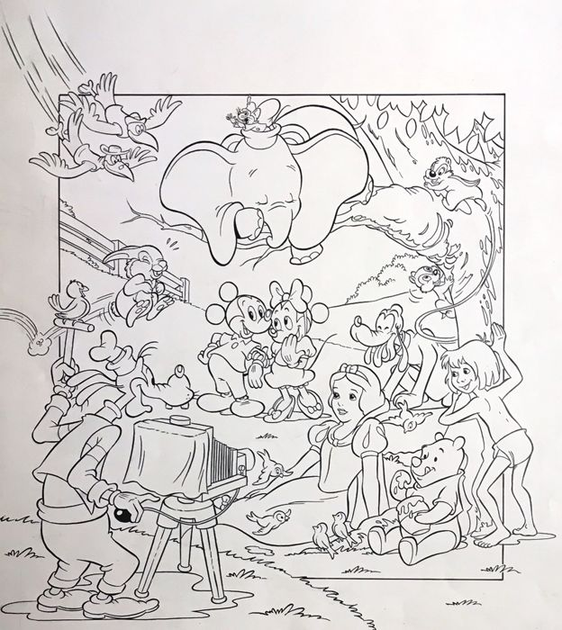 Disney - Vicar / Blai Sanchis - Originele Cover/poster - Complete Disney Cast - Original Drawing - (1980/1985)