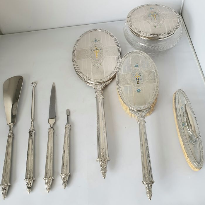 dressing table set (8) - Silverplate - France - 1900-1949