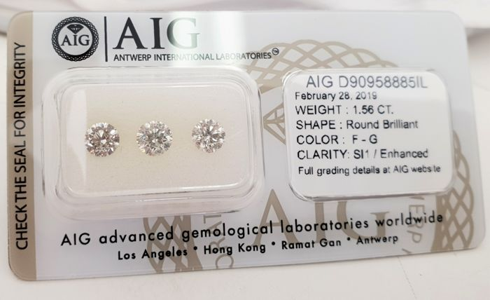 3 pcs Diamond - 1.56 ct - Brilliant - F, G - SI1