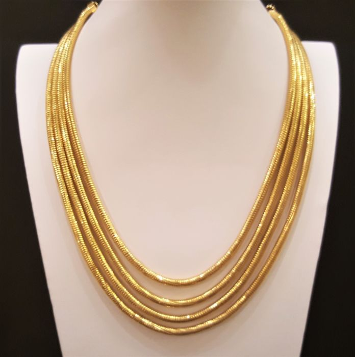 GUY LAROCHE - PARIS 18kt vergulde 4 strand Snake Collier