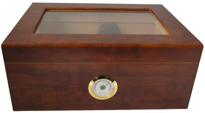 HUMIDORO - Humidor for 50 cigars - brass external hygrometer - 1