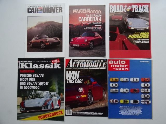 Brochures / Catalogi - PORSCHE 935 Moby Dick, 936 Spyder, 911 (964) Carrera 4 - Sonderdruck / original magazine reprints - 1977-1989 (6 items)