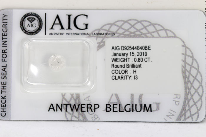 Diamante - 0.80 ct - Brilhante - H - P3 - * NO RESERVE PRICE *