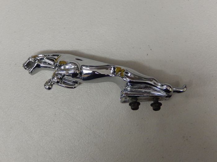 "Embleem / Mascotte - Large Chrome Jaguar 8"" Chrome Leaper Car Mascot Hood Ornament - 1980-1990 (1 items)"