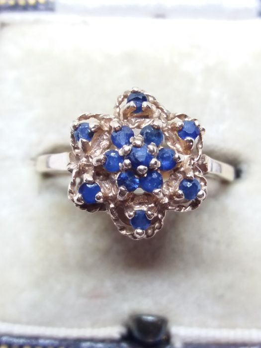 375  Or jaune - Bague Sapphire inhabituelle