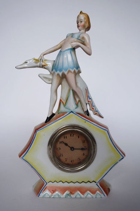 'Flapper girl' with greyhound dog - Art Deco clock