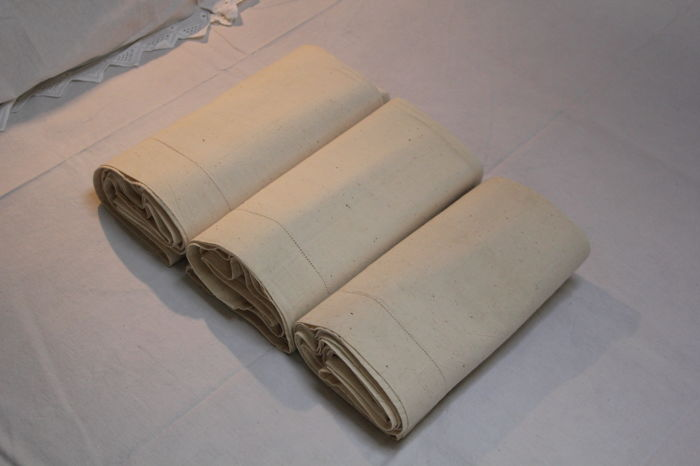 Bed Sheet / Embroidered Sheet (3) - Linen - First half 20th century