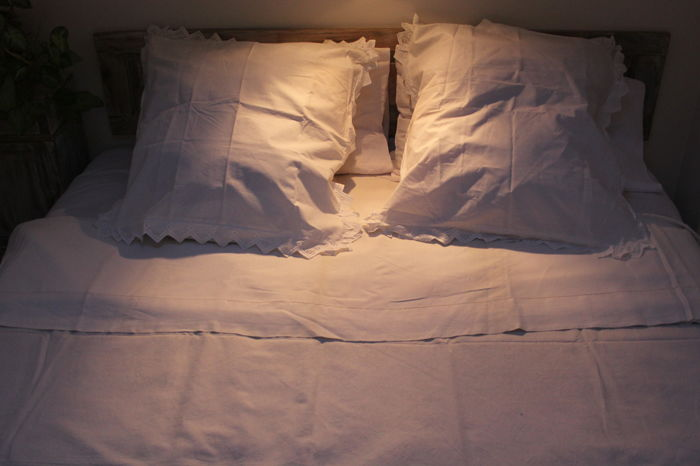 Bed Sheet / Embroidered Sheet / 2 Seater (1) - Linen - First half 20th century