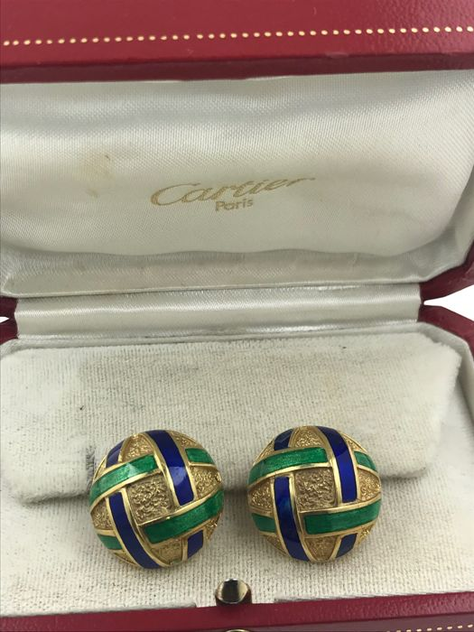 Cartier - 18 kt. Yellow gold, Cartier NY Emailled Antik  & BOX - Earrings