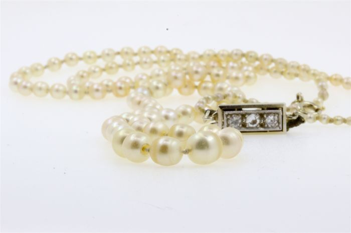 dc6f57123 Natural pearl - Necklace 143 Natural pearls with certificate - Diamonds