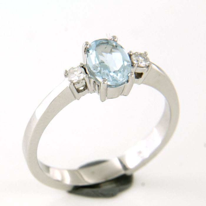 18 kt. White gold - Ring - 0.10 ct Diamond - Topaz