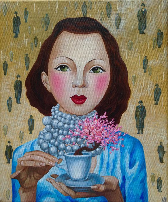 Darya Koltsova - Scarlett. A cup of tree. With love to Rene Magritte