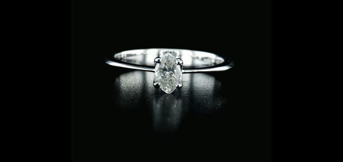 14 kt. White gold - Ring - 0.45 ct Diamond