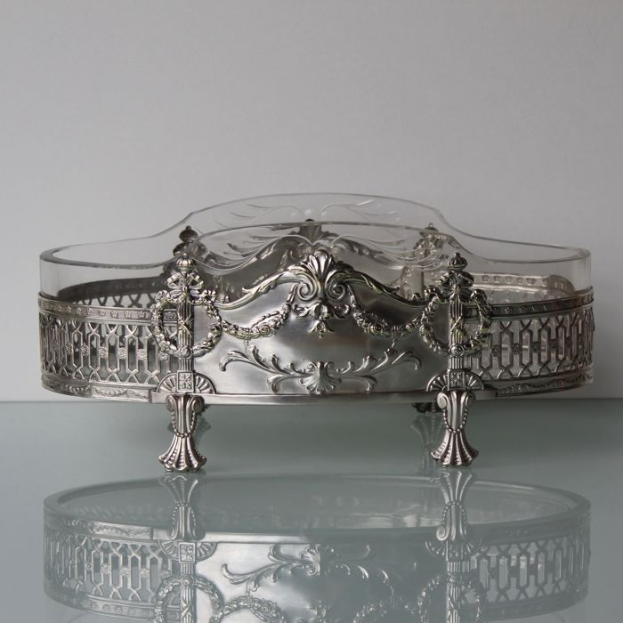 Argentor -  Art Nouveau silver plated centerpiece with glass insert.