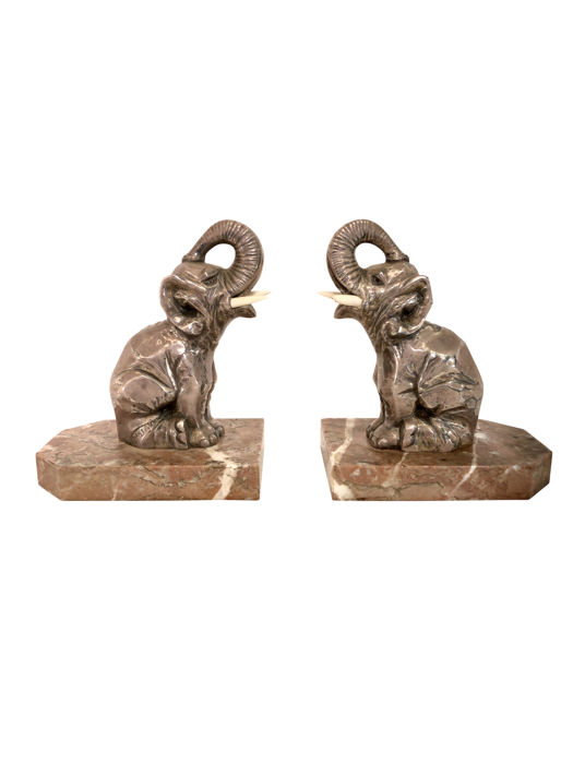 H. Moreau - Art Deco Elephant bookends in siver plated spelter