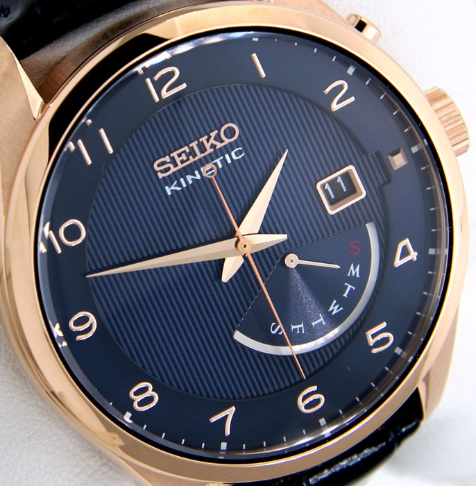 "Seiko - Kinetic Day/Date ""Gold-Blue Leather""  - Herren - 2018"