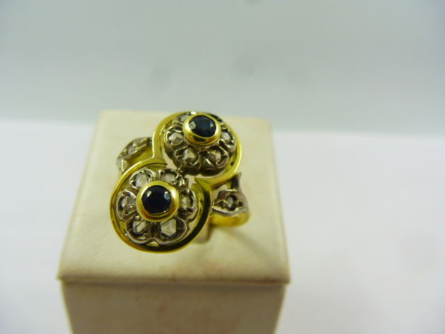 18 kt. Silver, Yellow gold - Ring Sapphire - Diamonds