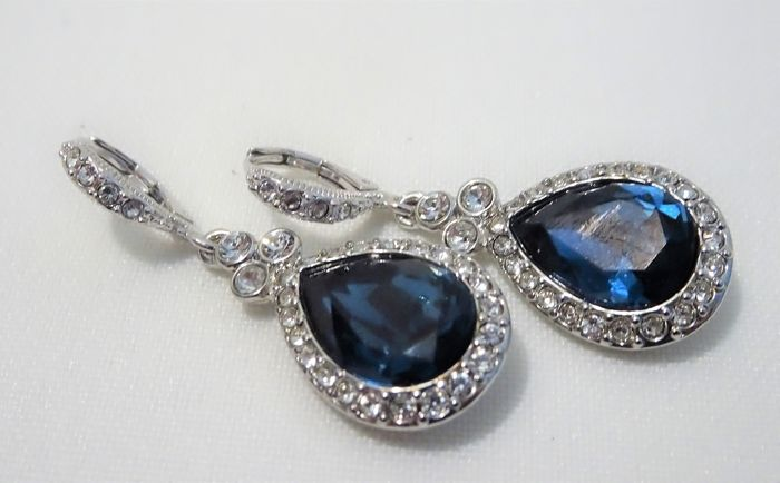 Givenchy - Sapphire Blue and Diamond Bright Crystal Pierced Earrings