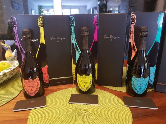 Gemengd kavel - 2000 Dom Perignon Andy Warhol Collection; Red, Yellow & Blue - Champagne - 3 Flessen (0.75 liter)