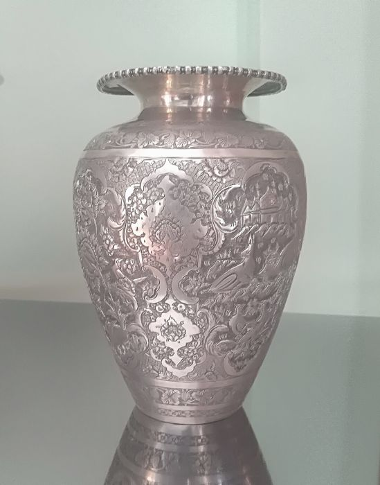 Signed solid silver hand chased vase qajar isfahan