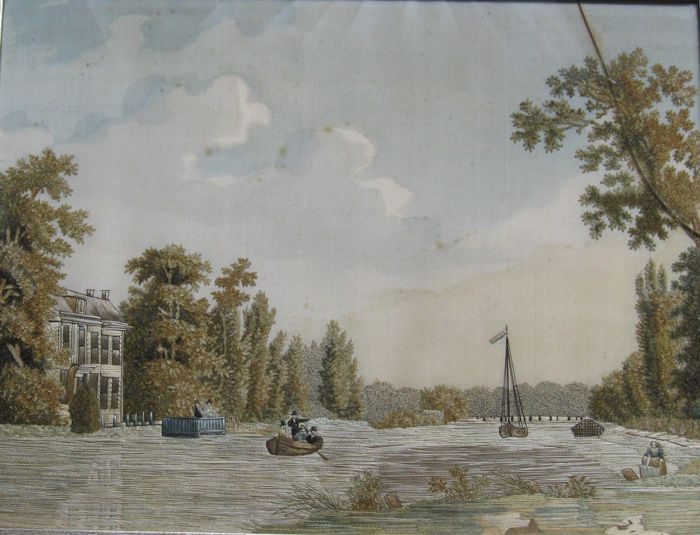 "Topographic Dutch 19th Century  ""Fil De Soie"" - View on the River 'The Vecht' near Breukelen - Zijde - Eerste helft 19e eeuw"