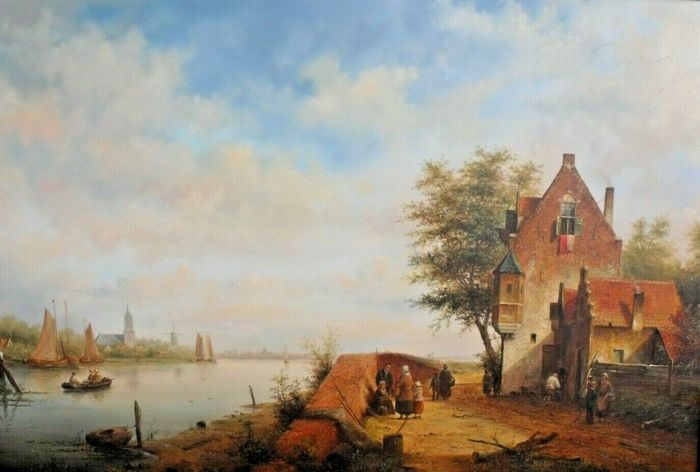 Lion Arie Feijen ( 1947) - A Riverside Landscape with Figures and Boats.
