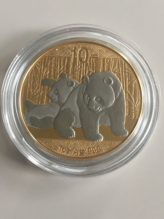 China - 10 Yuan 2010 - Panda - 24k Gold/Platin Gilded - from the Wall Street collection - 1 oz - Silver