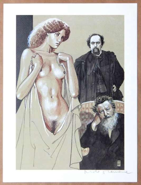 "Milo Manara - ""Hommage à William Morris""  - Loose page - First edition"
