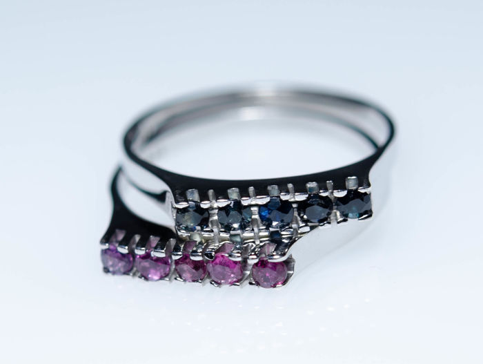835 Silber - 2 Rings with natural Rubies and Sapphires