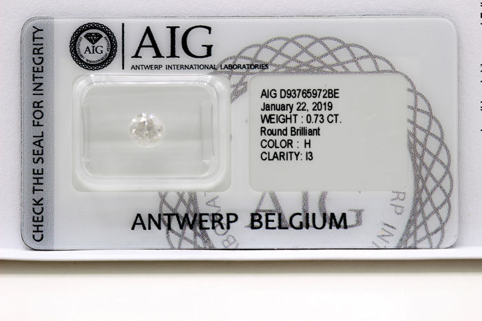 Diamant - 0.73 ct - Brillant - H - P3 - * NO RESERVE PRICE *